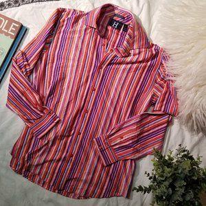 60's 2-ply mercerized button down striped shirt